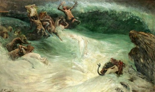 """Naiades and Centaurs in the Waves"" - Georges Jules Victor Clairin (1843-1919)"