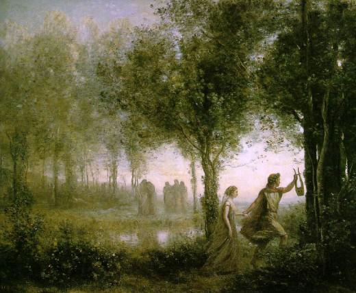 """Orpheus leading Eurydice from the Underworld"" - Jean Baptiste Camille Corot (1796-1875)"