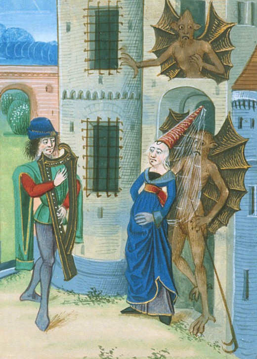 Here we show a portion of an illustration depicting Orpheus, Eurydice and Demons from an illuminated Medieval manuscript.