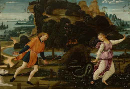 """Here we show a portion of """"Orpheus, Eurydice and Aristaeus"""" by Jacopo del Sellaio (1441/42 - 1493)."""