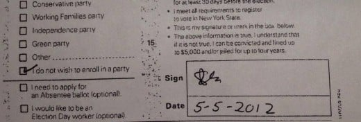 NY voter's registration form falsely filed on her behalf.