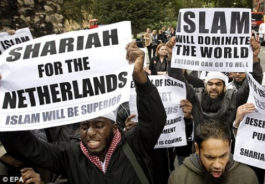 Muslims demonstrating for Sharia law in the UK.