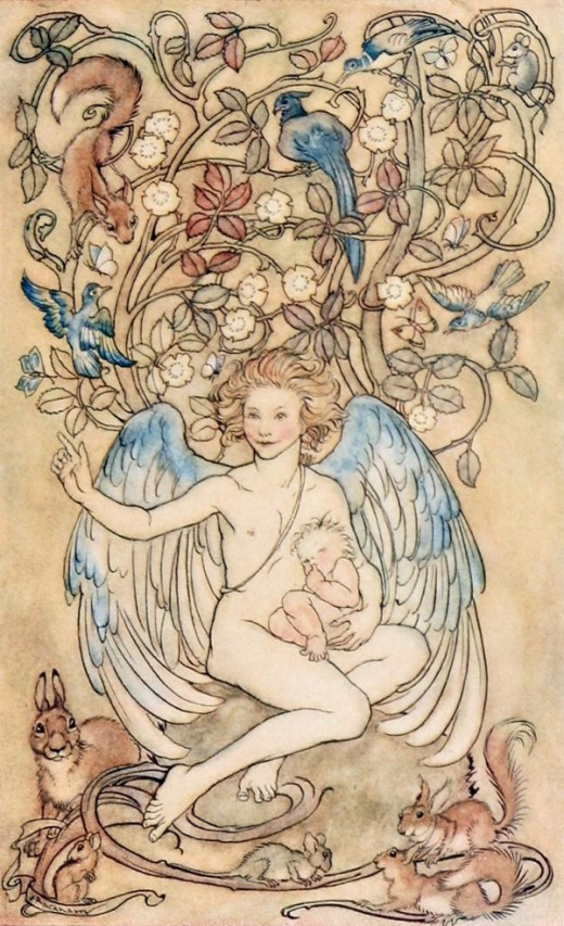 """Hush! for the holiest thing that lives is here"" - Arthur Rackham (1867-1939)"