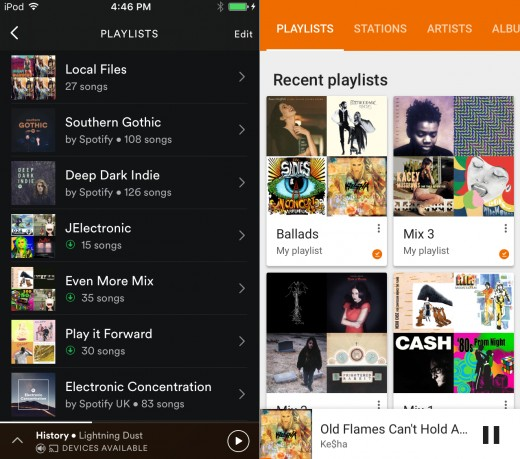 Spotify playlists (left) are based on the order they were created. Google Play Music has a main view (right) and a list view.