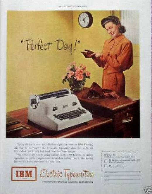Vintage ad with secretary.