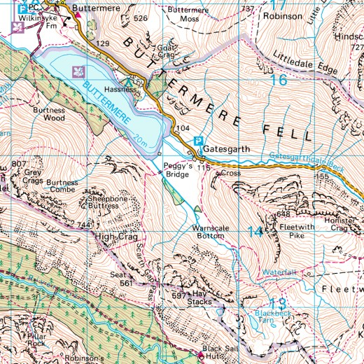 Footpaths on remote crags - Ordnance Survey map
