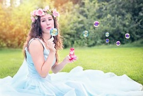 Blowing bubbles. What a great way to share a first date.