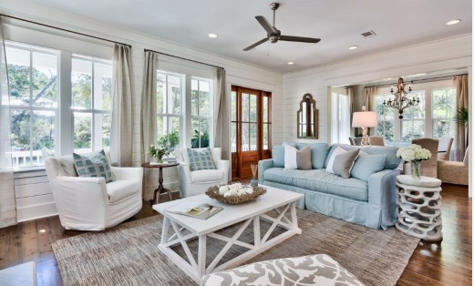 Beach style living room, with great use of grays, blues and browns!