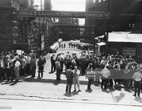 Railroad Union members strike against a powerful steel firm in Pittsburgh for selling high-priced steel making their jobs unsure.