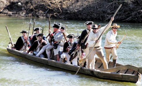 Crossing the Dan River In the American Revolution. Recognized by the National Society Sons of the American Revolution. Re-enactment.