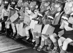 Thanks to you, Adolf, children had to many times wear gas masks due to Allied bombing of your strongholds.