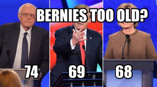Bernie Sanders is a mere 5 years older than Donald Trump and 6 years older than Hillary Clinton.
