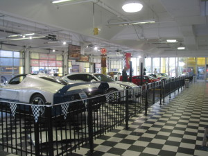 This area houses a number of owner Preston Henn's exotic cars among memorabilia from his racing career.
