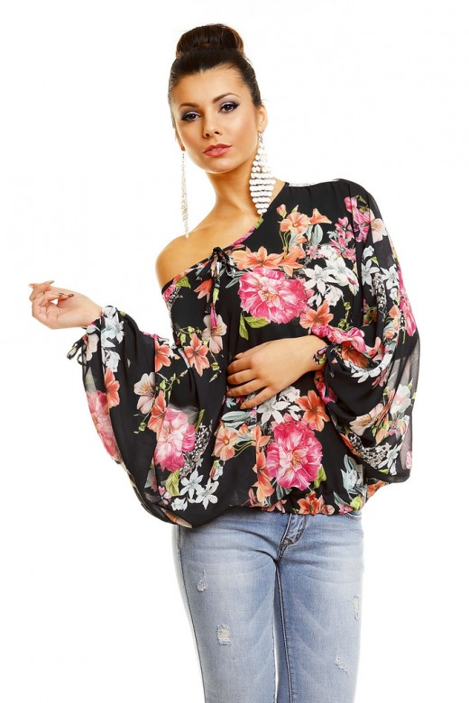 Cili Floral Print Batwing Casual Blouse