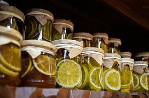Sealed jars of fruity stuff.