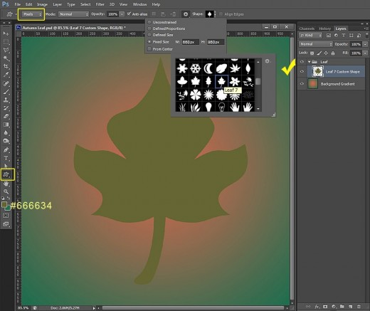 photoshop how to create a shape layer