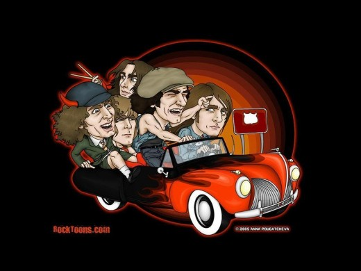 Cartoon of the band members including Brian Johnson.