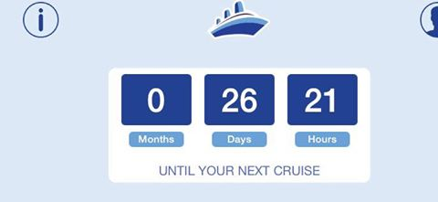 Screen Shot from Carnival's Ship Mate app. It features a handy count down feature.