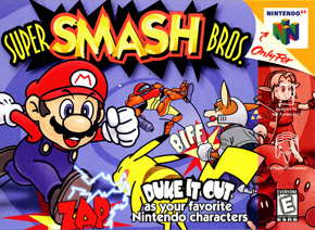 The original box art for the first Super Smash Bros. A lot more cartoonish compared to sequels.