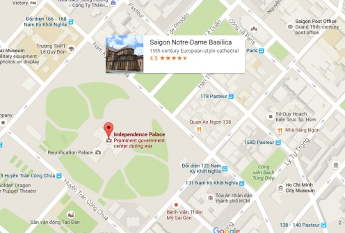 Right there, next to the first cluster - Notre Dame Cathedral and Saigon Central Post Office
