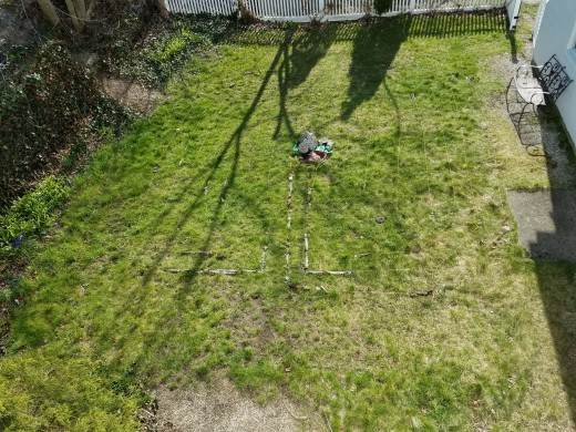 A bird's eye view of the 7-circult labyrinth I created in our  UU church's courtyard.