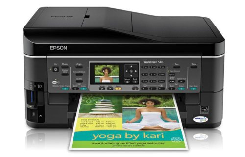 Epson WorkForce 545 Wireless All-in-One Color Inkjet Printer, Copier, Scanner, Fax, iOS/ Tablet/ Smartphone/ AirPrint Compatible(C11CB88201)