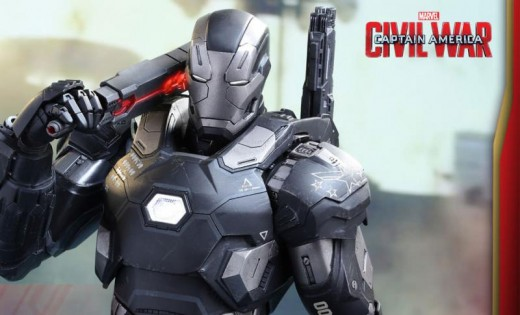 A toy version of the new War Machine armor, complete with its new melee weapon