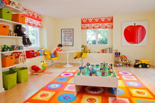 Beautiful, fun and expressive color adds life to a room, like this awesome kid playroom.