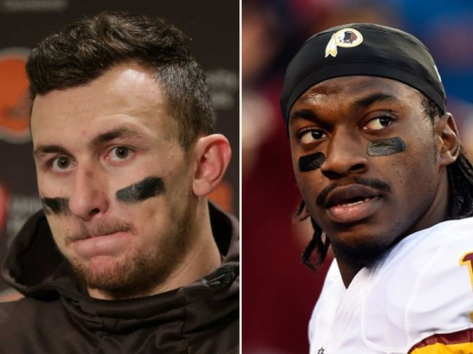 The Cleveland Browns drafted Johnny Manziel (L) in 2014 and just signed Robert Griffin III (R) instead of drafting a QB with the No. 2 pick they traded to the Eagles.  Can they do anything right?
