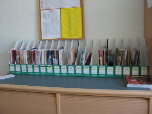 Row of Jehovah Witness reading material. Common sight in all their 'Kingdom Halls'