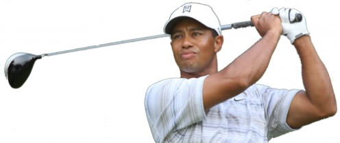 Tiger Woods stares at drive.