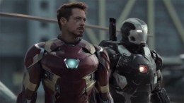 Iron Man (played by Robert Downey Jr.) flanked by War Machine