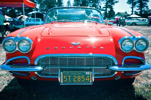 "Nothing says, ""Hello, look at me"" with quite the impact of a vibrant red vintage Corvette."