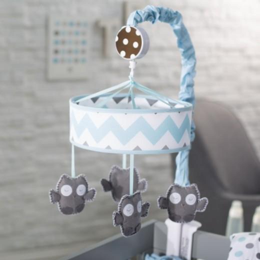 My Baby Sam Chevron Mobile, Aqua/Gray