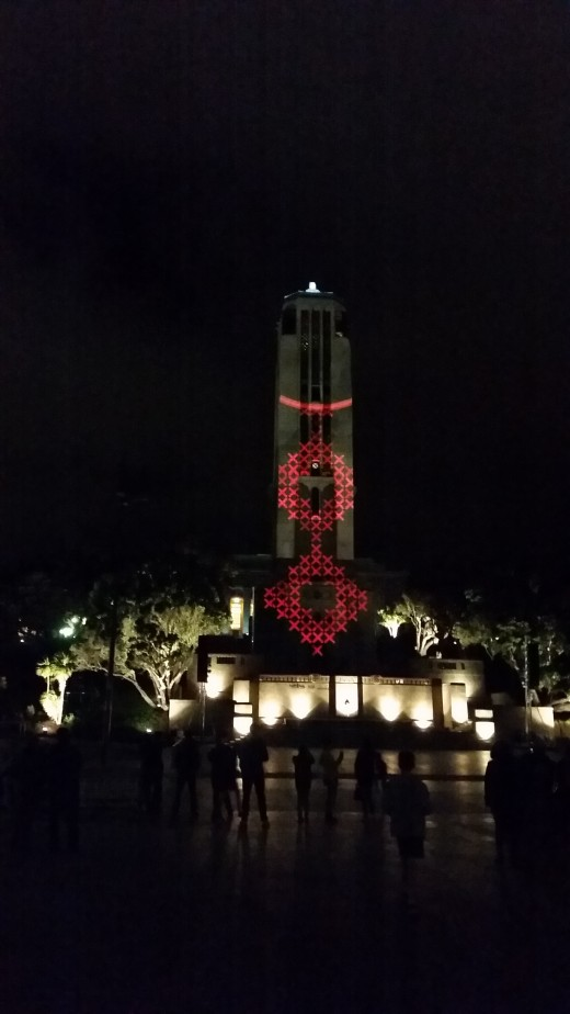 This photo was taken at Pukeahu Park in Wellington - a light projection show in commemoration of ANZAC day.