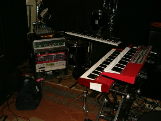 Here we show a multi-keyboard set-up that provides for organ-like playing.