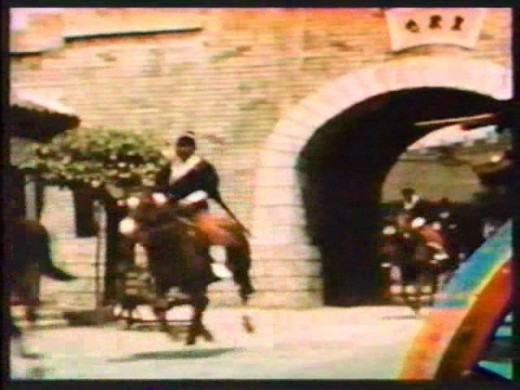An edited 3D image as shown on Television. The horse and rider on the left are not shown in 3D while the wheel and part of the gate on the right are in full 3D.