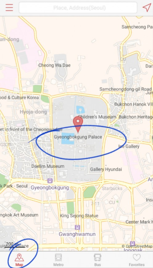 E.g. You wish to visit the 'Gyeongbokgung Palace'. Type this in the 'Map' tab & it will bring you to this screen, showing the nearest subway station around