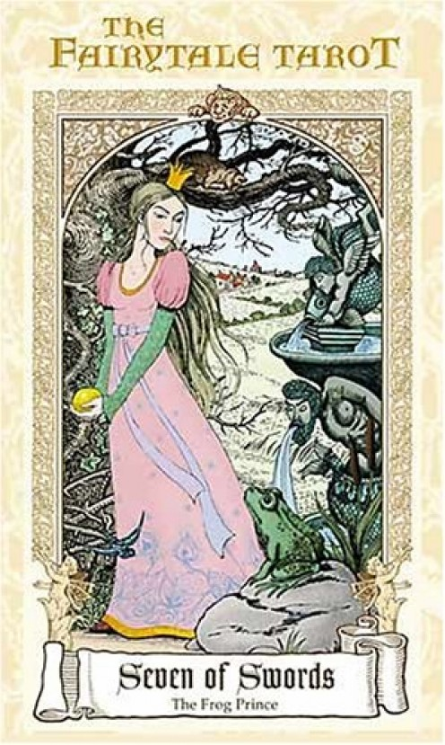 The Seven of Swords Tarot Card, from The Fairytale Tarot by Karen Mahony, Alex Ukolov, Irena Triskova, is based on the fairy tale of The Frog Prince