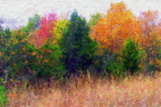 Autumn colors beautifully displayed with acrylics.