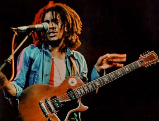 Bob Marley with his Gibson Les Paul