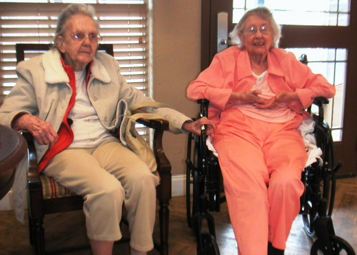 Catherine and Louise, now in their nineties, share a room together at the Skilled Nursing Facility where they live.
