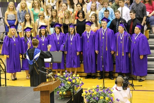 This was a very beautiful song done by the students and a few of the Seniors singing their last song.