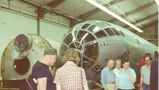 The Enola Gay undergoing restoration at the Paul E. Garber Facility, circa 1985.