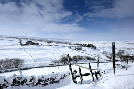Moorland winter - the white stuff started to build up in January, 1963, especially over the Moors