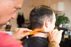 Man getting a traditional haircut
