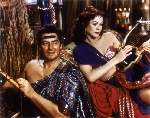 "Victor Mature, Hedy Lamaar, in scene from ""Samson and Delilah"""