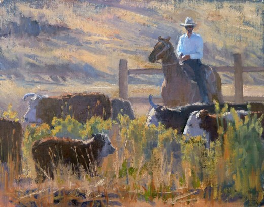 Rancher moving cattle