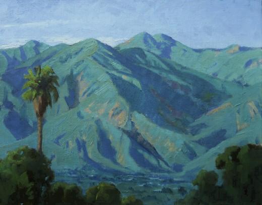 The San Gabriel Mountains turn green after a recent rain