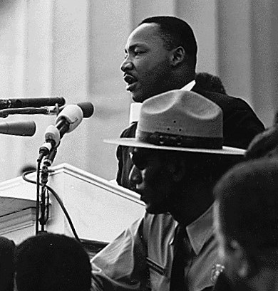 """Dr. Martin Luther King giving his """"I Have a Dream"""" speech on 28 August 1963."""